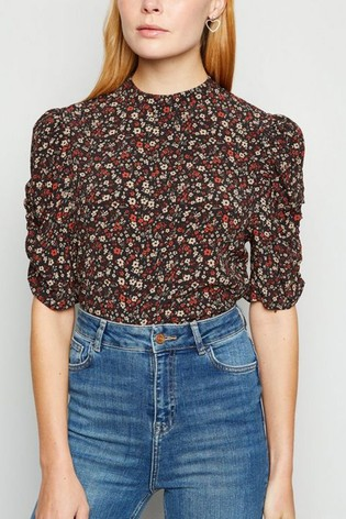 New Look Ditsy Floral Puff Sleeve Blouse