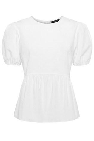 New Look White Poplin Puff Sleeve Peplum Blouse