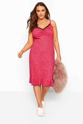 Yours Curve Pink Mini Heart Chemise