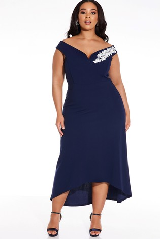 Quiz Navy Curve Bardot Dip Hem Dress With Floral Trim