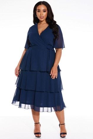 Quiz Curve Tiered Skirt Midi Dress