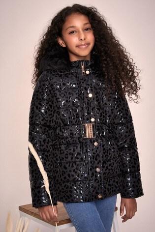 Lipsy Girl Black Leopard Belted Coat