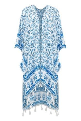 Pour Moi White and Blue Floral Bohemian Scarf Print Kimono