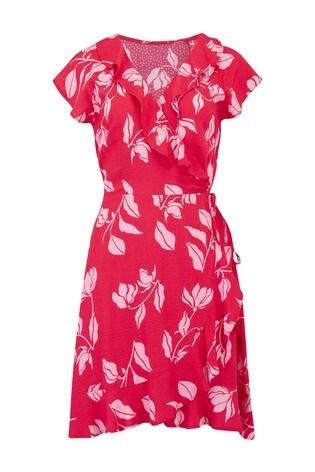 Pour Moi Red Textured Frill Wrap Beach Dress