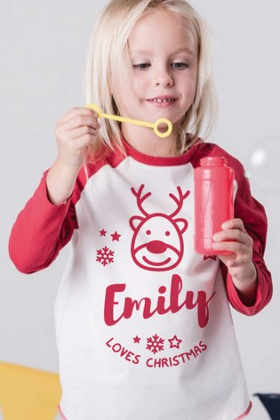 Personalised Organic Cotton Festive Baseball Top by Percy & Nell