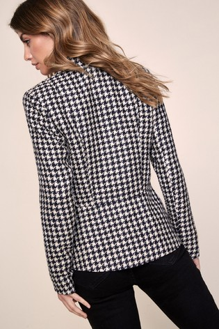 Lipsy Monochrome Boucle Military Tailored Button Blazer