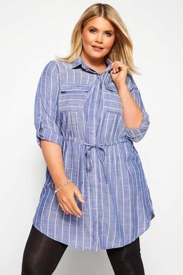 Yours Blue Curve Drawstring Stripe Tunic