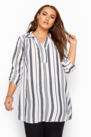 Yours White Curve Overhead Printed Shirt