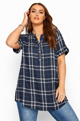 Yours Curve Blue Short Sleeve Check Shirt