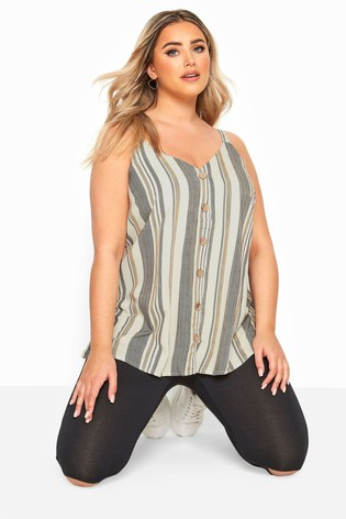 Yours Grey Curve Button Cami Stripe Top