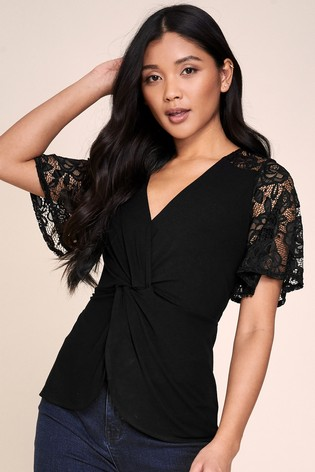 Lipsy Lace Insert Twist Front Top