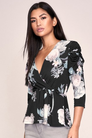 Lipsy Floral Ruched Sleeve Top