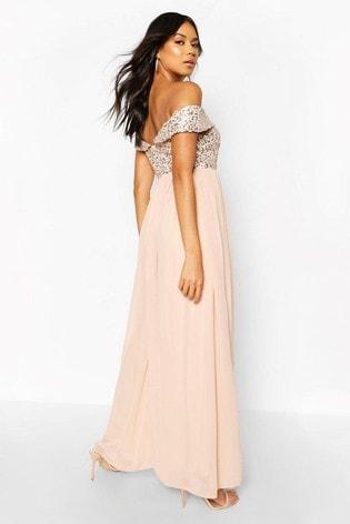 Boohoo Sequin Bardot Maxi Dress