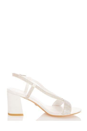 Quiz Bridal Satin V Strap Diamanté Sandals
