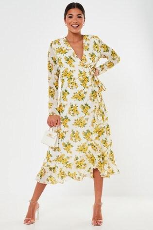 Missguided Ruffle Hem Wrap Midi Tea Dress