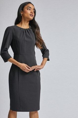 Dorothy Perkins Petite 3/4 Sleeve Pleat Neck Dress