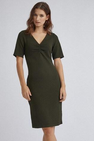 Dorothy Perkins Khaki Ruched V Neck Bodycon Dress