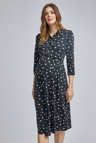 Dorothy Perkins Maternity Heart Print Wrap Midi Dress