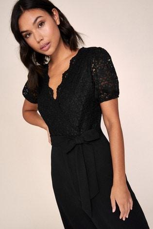 Lipsy Black Lace Puff Sleeve Jumpsuit
