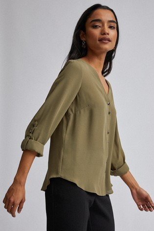 Dorothy Perkins Khaki Petite Plain Roll Sleeves Shirt