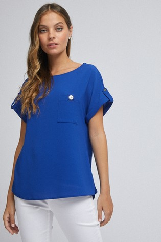 Dorothy Perkins Blue Petite Button Pocket Roll Sleeve Tee