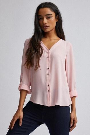 Dorothy Perkins Pink Petite Plain Roll Sleeves Shirt