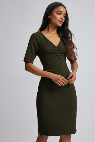 Dorothy Perkins Khaki Petite Ruched Front Bodycon Dress
