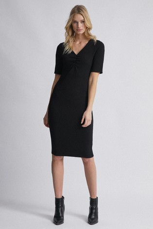 Dorothy Perkins Black Tall Ruched Front V neck Bodycon Dress