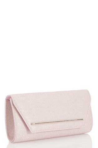 Quiz Pink Shimmer Plated Flap Clutch Bag