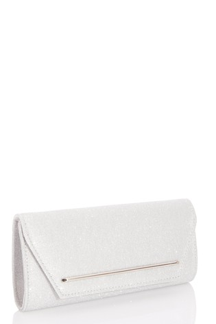 Quiz Silver Shimmer Plated Flap Clutch Bag