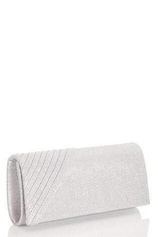 Quiz Silver Textured Pleated Edge Clutch Bag
