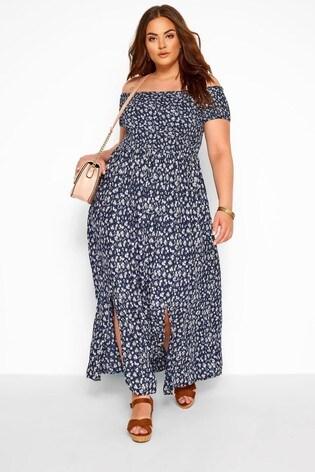 Yours Navy Curve Bardot Floral Ditsy Dress