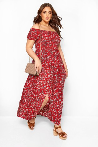 Yours Red Curve Bardot Floral Ditsy Dress
