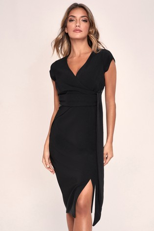 Lipsy Black Wrap Tie Waist Dress