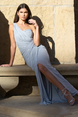 Lipsy Blue Petite One Shoulder Glitter Ruched Maxi