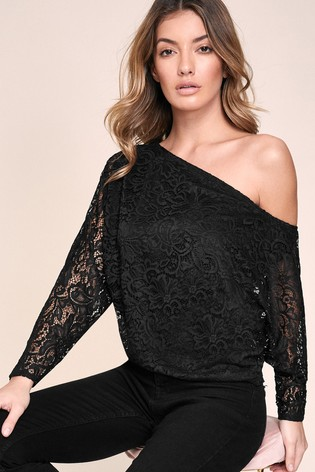 Lipsy Coal Slash Neck Top