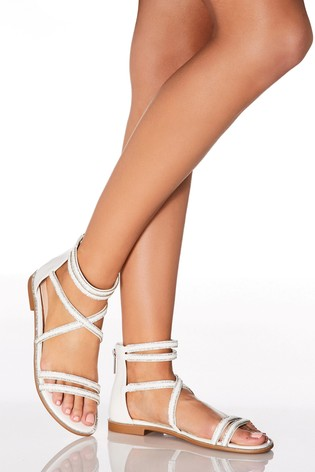 Quiz Diamanté Rope Detail Strappy Flat Sandal
