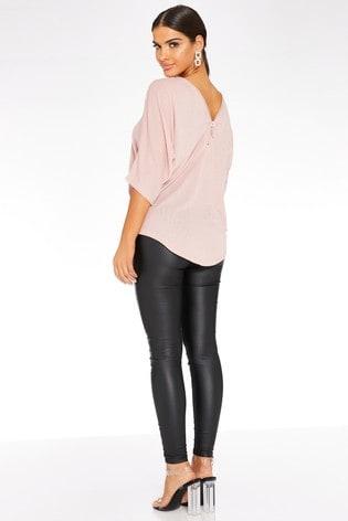 Quiz Pink Light Knit Diamanté Zip Front And Back Top