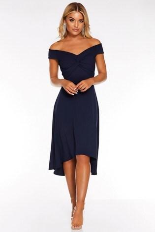 Quiz Bardot Knot Front Midi Dress