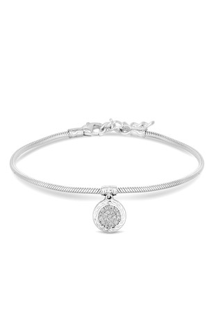 Simply Silver Sterling Silver 925 Cubic Zirconia Pave Charm Snake Bracelet