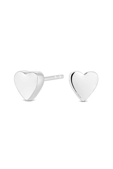 Simply Silver Sterling Silver 925 Polished Thick Heart Stud Earring