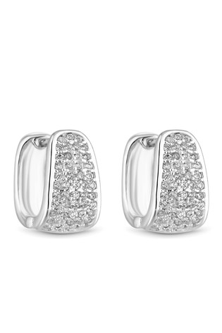 Simply Silver Sterling Silver 926 Cubic Zirconia Pave Square Huggie Hoops Earrings