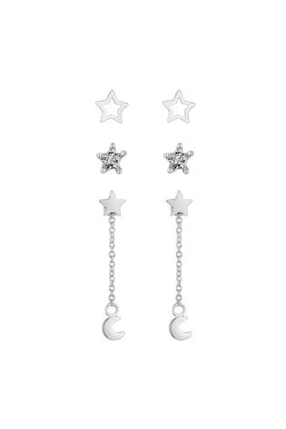 Simply Silver Sterling Silver 925 Shooting Star Drop Earring - Pack of 3