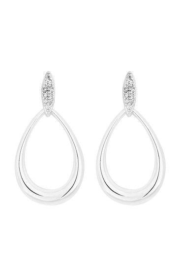 Simply Silver Sterling Silver 925 Cubic Zirconia  Pave Top Oval Open Drop Earring