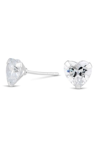 Simply Silver Sterling Silver 925 Cubic Zirconia 7mm Heart Studs