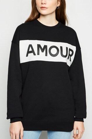 New Look Colourblock Amour Slogan Sweatshirt