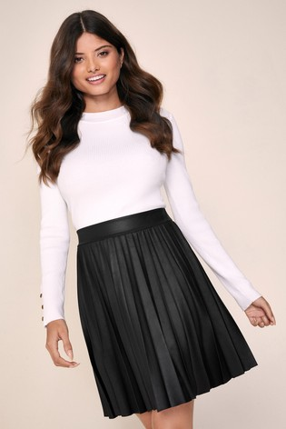 Lipsy PU Pleated Mini Skirt