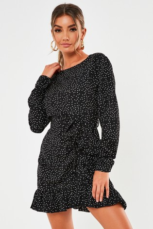 Missguided Ruched Button Side Polka Dot Tea Dress