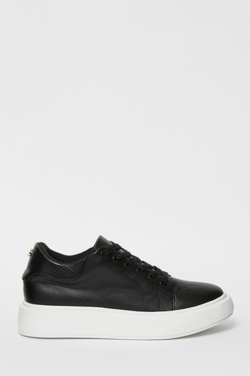 Lipsy Black Flatform Lace Up Trainer