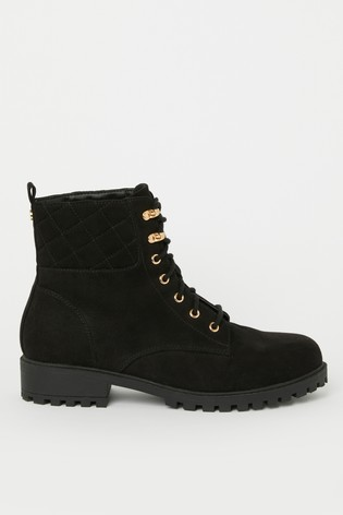 Lipsy Lace Up Quilted Biker Boot